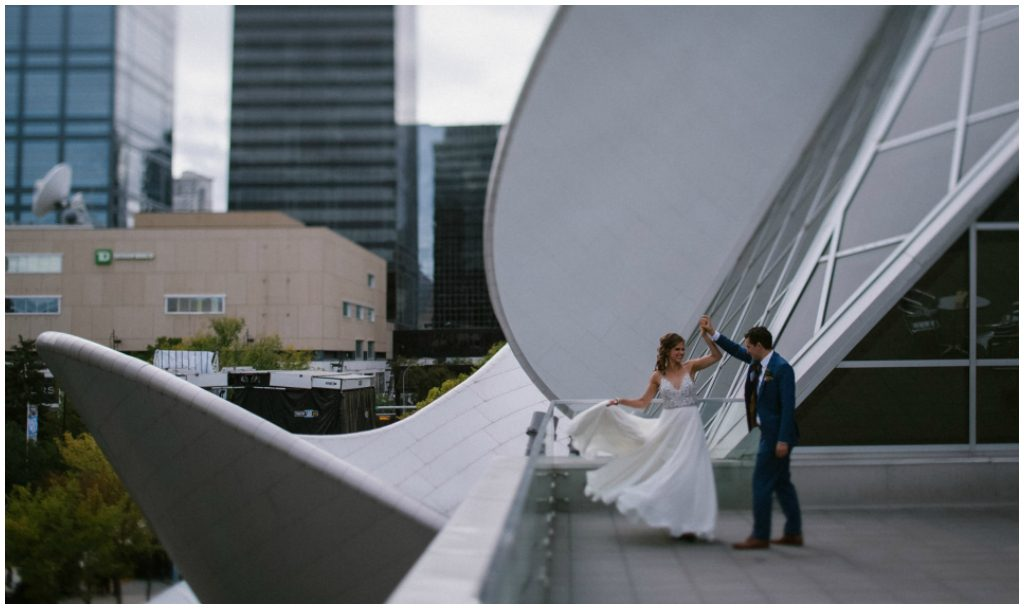Twirl on the Art Gallery of Albert roof, Modern Urban Wedding