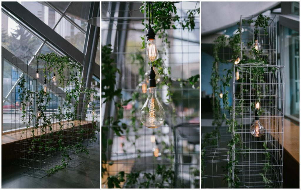 Wire cage and industrial light ceremony backdrop