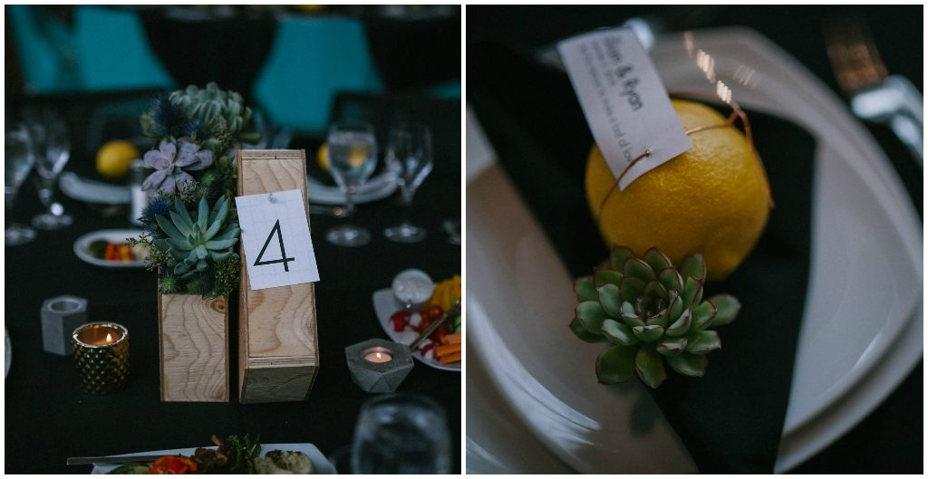 Succulent Wedding Decor, Art Gallery Urban Wedding