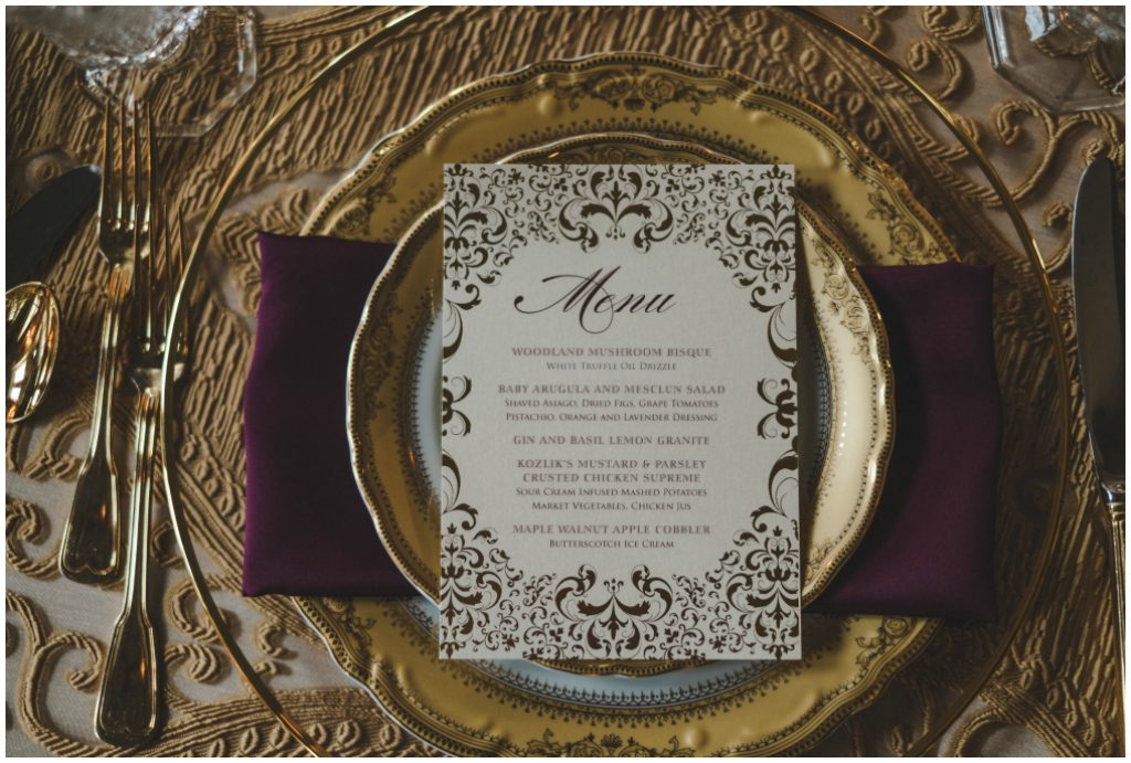 Elegant Luxurious Gold and Burgundy Place Setting