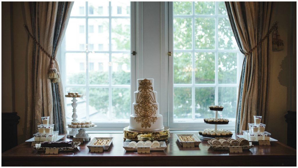 Elegant Gold and white Dessert Table