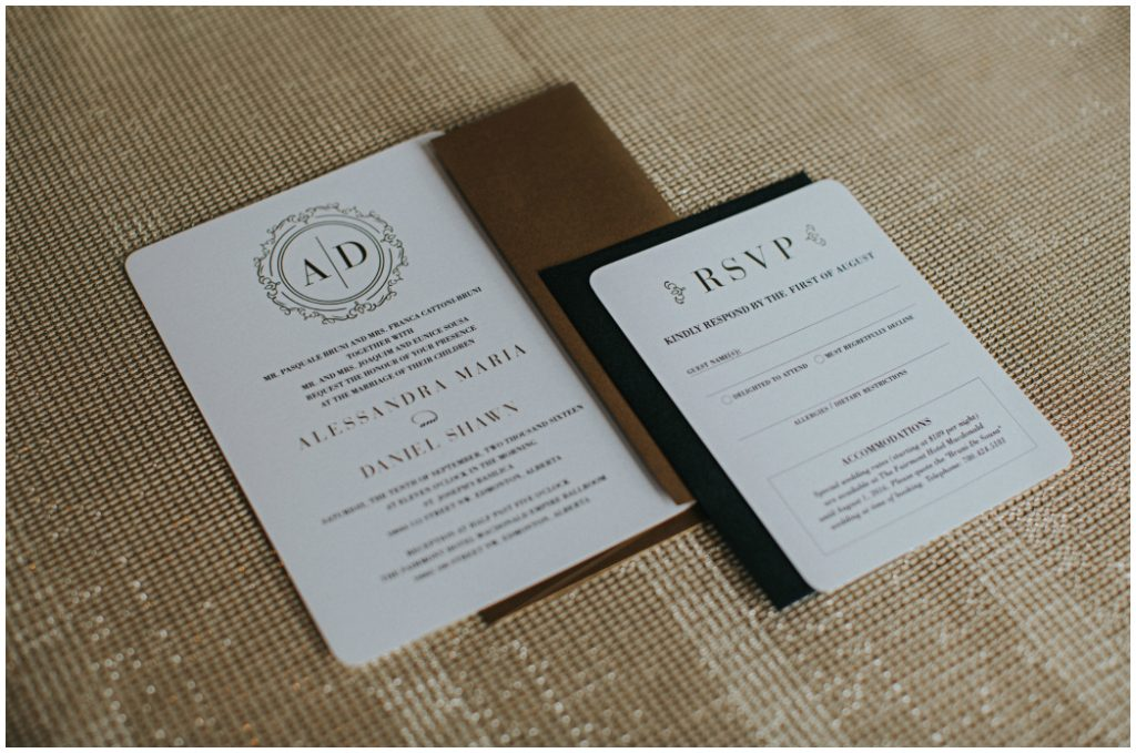White Gold and Black Wedding Stationery
