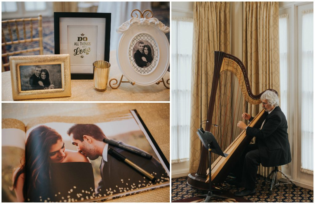 Gold and Black Guestbook Table, The Fairmont Hotel Macdonald Edmonton Wedding Planner