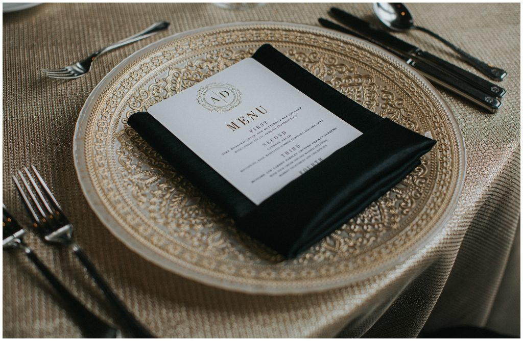Gold and Black Place Setting