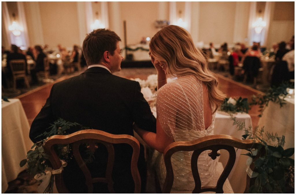 Vintage Bride + Groom Chairs, Romantic Ballroom Wedding.