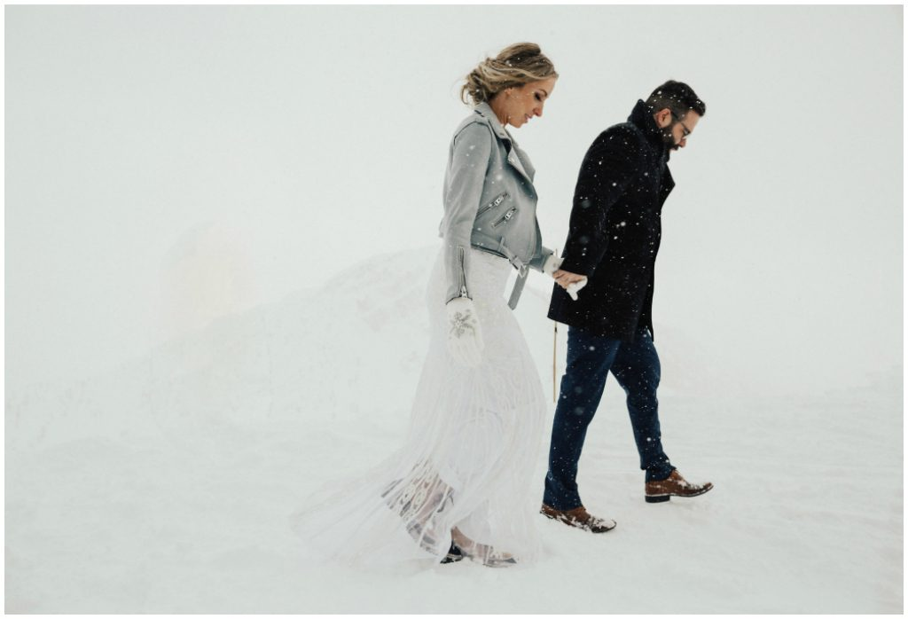 White Out Winter Wedding Photos, Snow Storm Winter Wedding