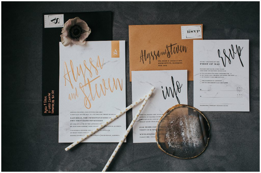Pinkpolka Invitations & Stationery, Gold and Black Modern Wedding Invite