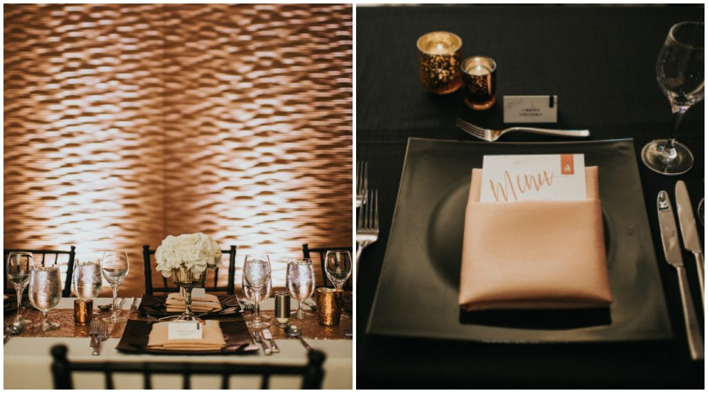 Modern Black Square Charger Plate with Rose Gold napkin