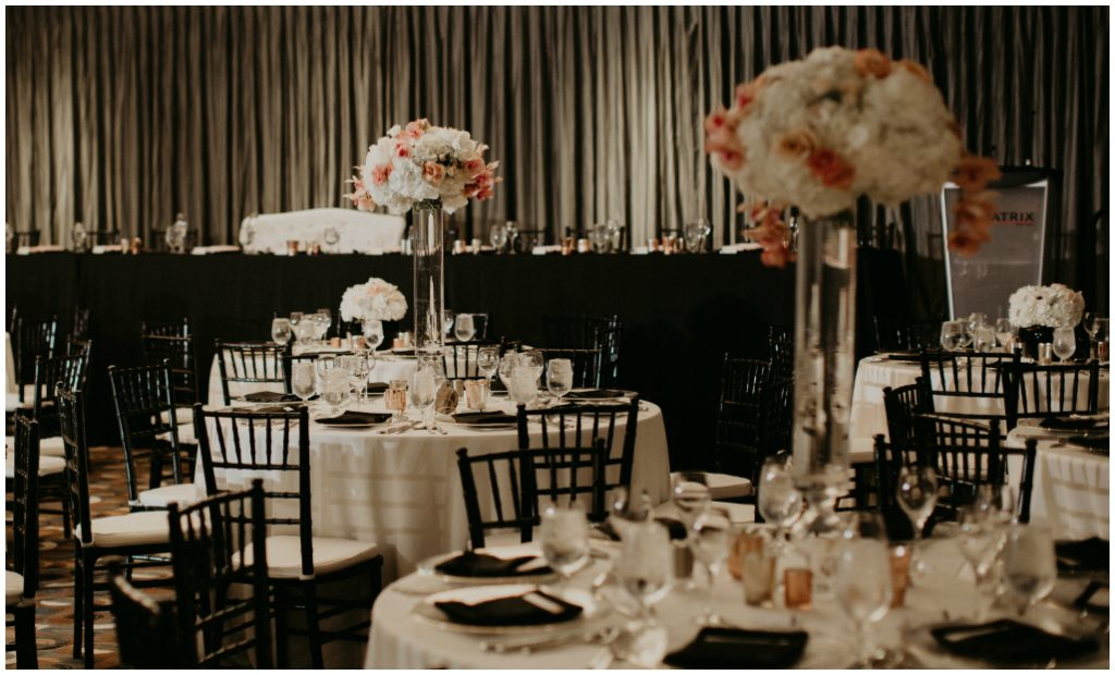 Mixed Height Centrepieces, Edmonton Sophisticated Ballroom Wedding