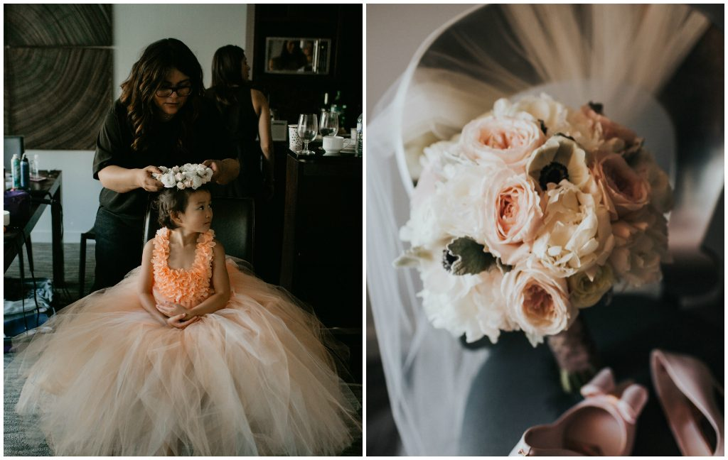 Peach Flower Girl, Peonie rose and anemone floral bouquet