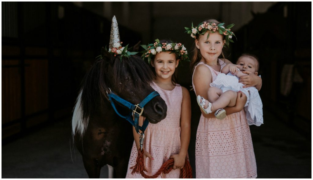 Pink Flower Girls with Unicorn Pony Wedding