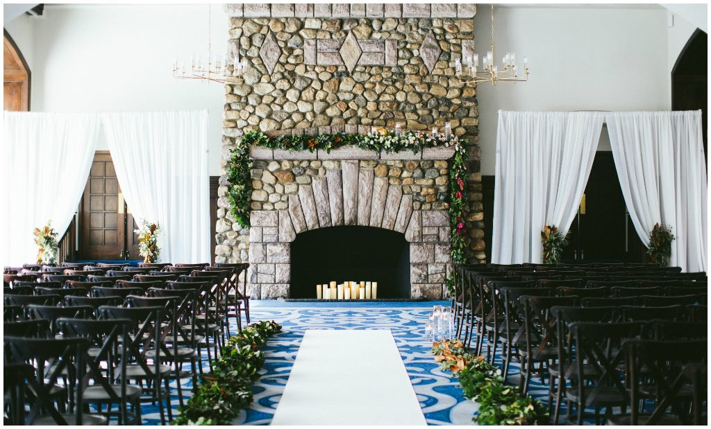 Pillar Candle Fireplace with Greenery, Ceremony Greenery Runner