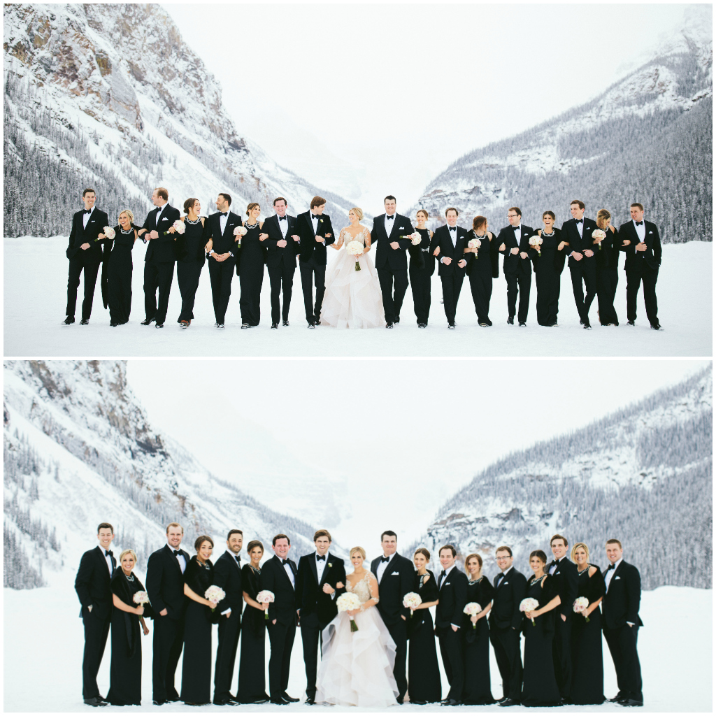 Classic Black and White Wedding Party, Black Bridesmaids Dresses