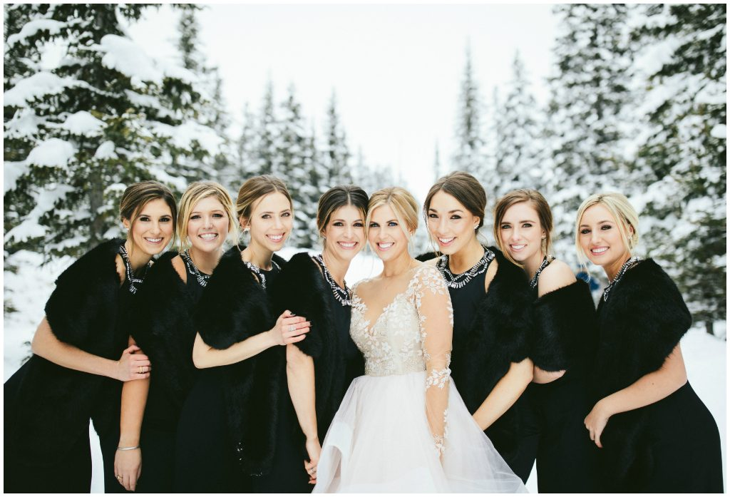 All Black Bridesmaid Dresses Winter Wedding