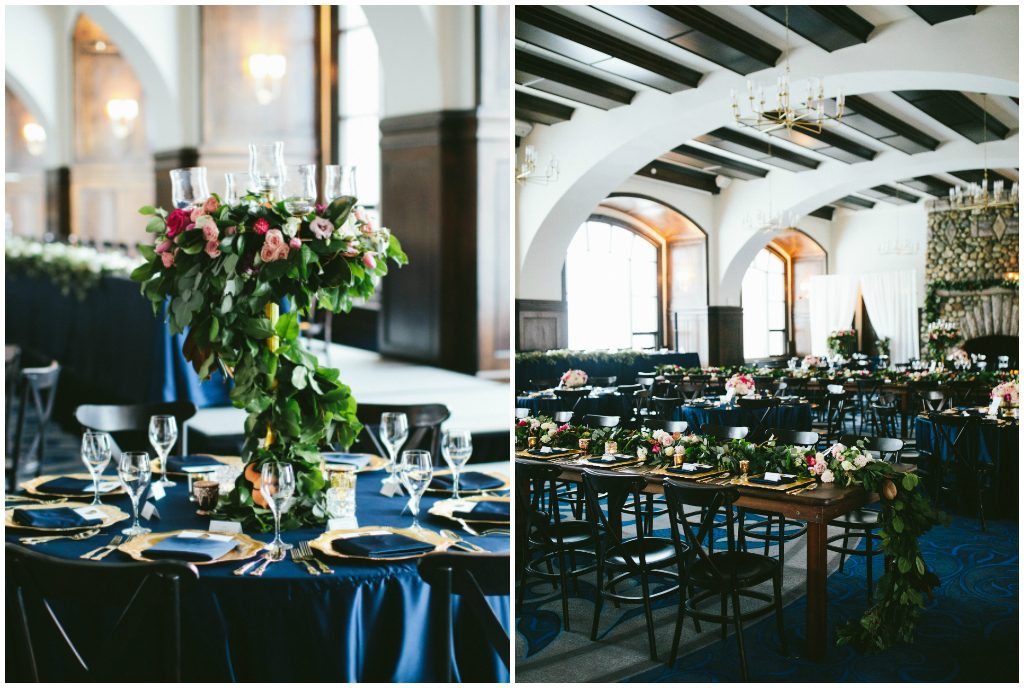 Navy and Gold Wedding Reception Décor