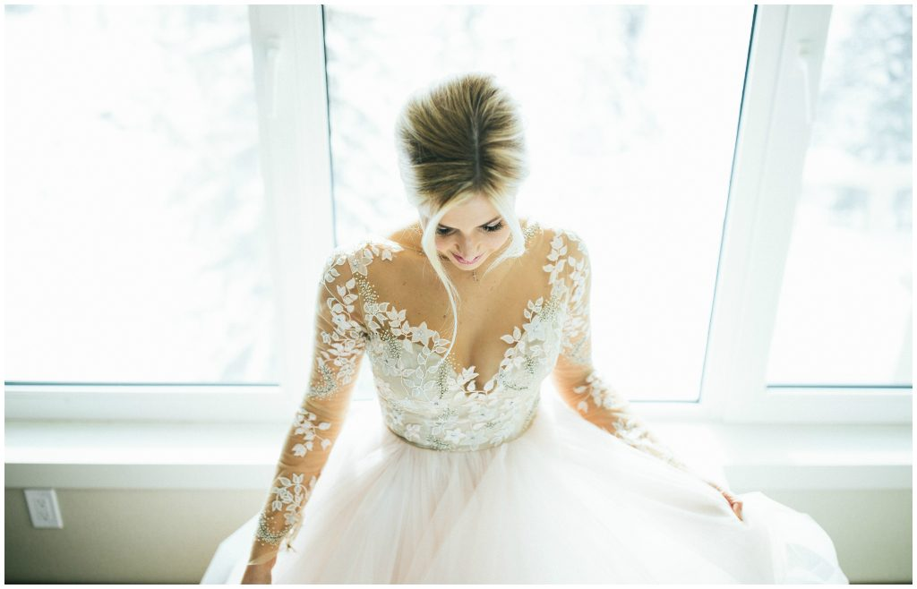 Beautiful Blush Bridal Gown Lake Louise