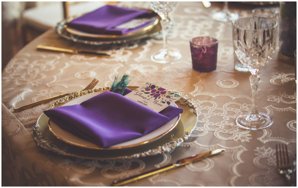 Purple Napkin Place Setting Gold Cutlery Victoria Wedding Details