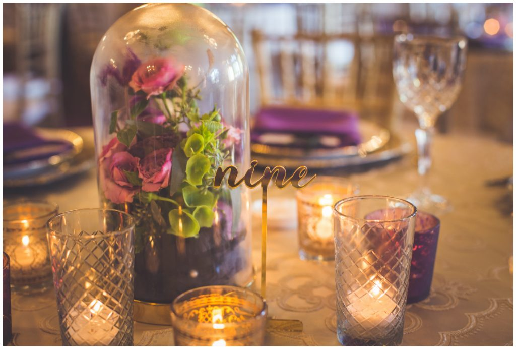 Gold and Purple Florals Centrepiece