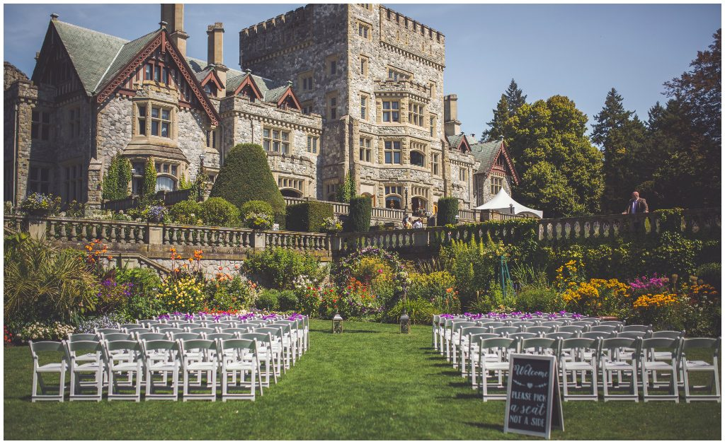White Folding Chairs Outdoor Castle Wedding