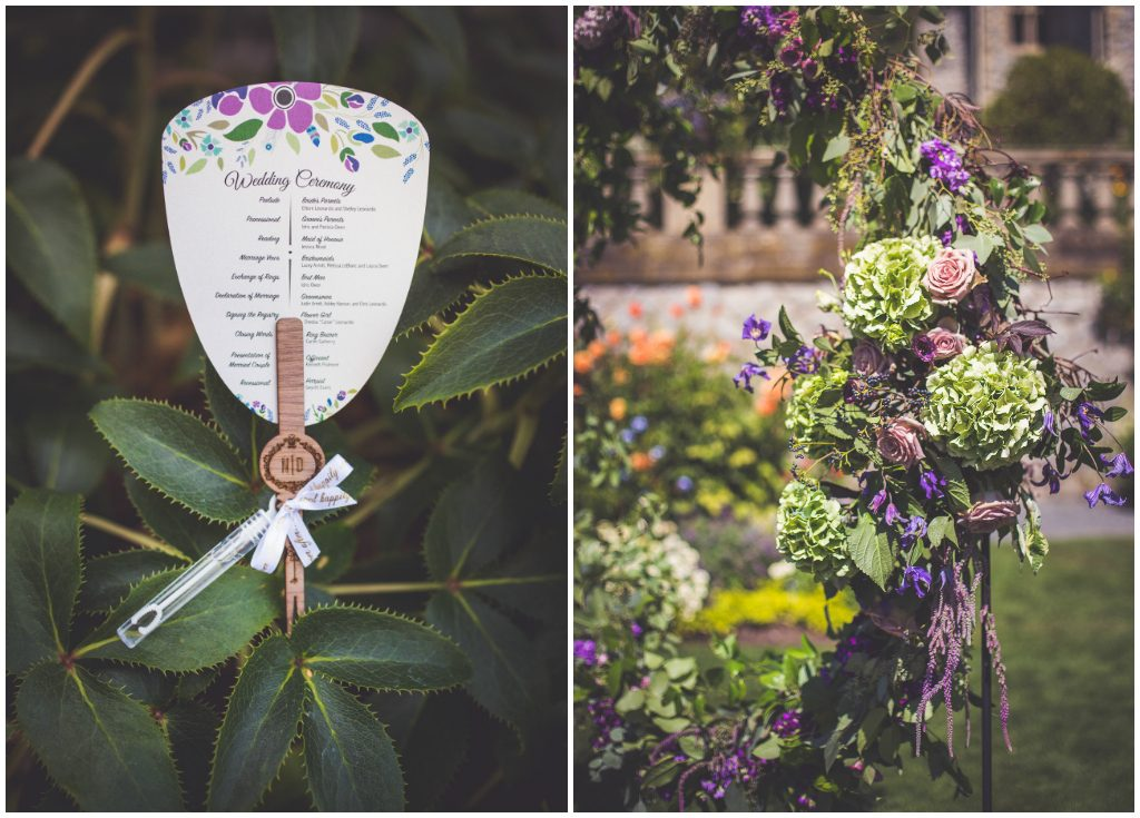 Purple florals and Greenery Circle Ceremony Backdrop