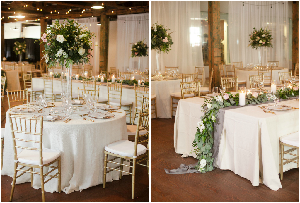 Mix of Tall and Greenery Garland Centrepieces