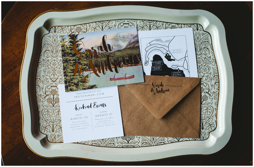 Unique Mountain Wedding Invitation, Mountain Scene Wedding Invite