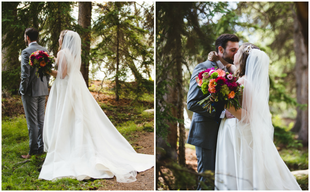 Colourful Bridal Bouquet, First Look in the Rocky Mountains