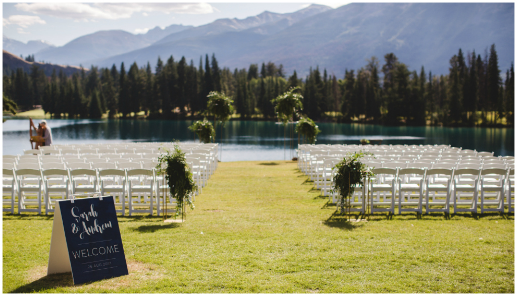 Outdoor Jasper Park Lodge Wedding