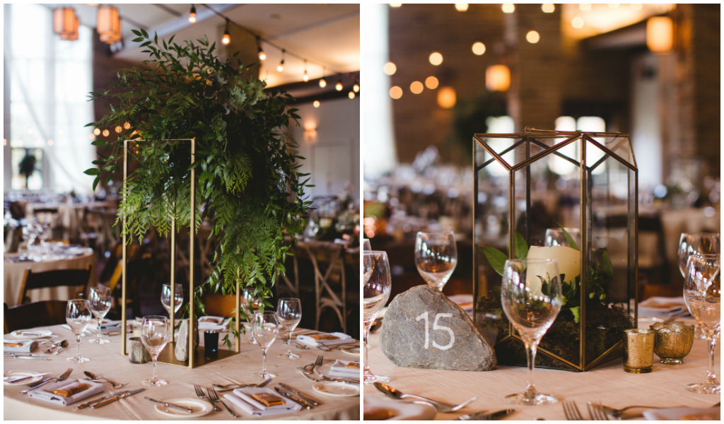 Cream linen with Gold Frame with Greenery centrepiece, Stone table number, rock table number