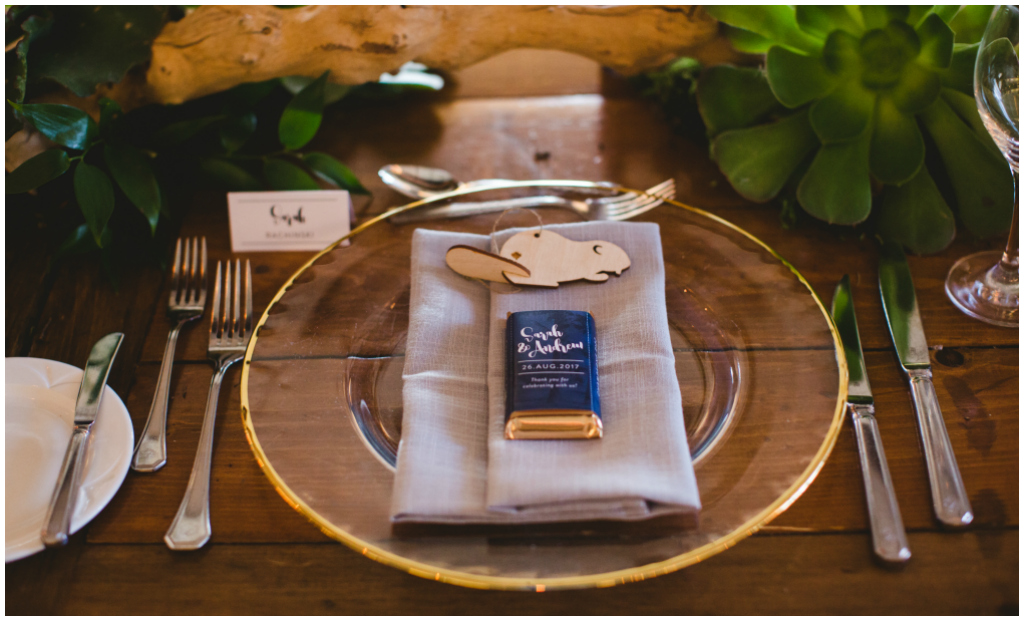 Gold Rim Charger Plate with Grey Napkin, Jasper Park Lodge Weddings