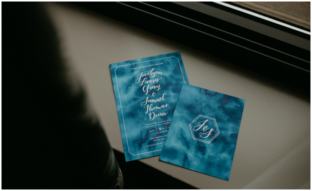 Modern Blue Wedding Invitation