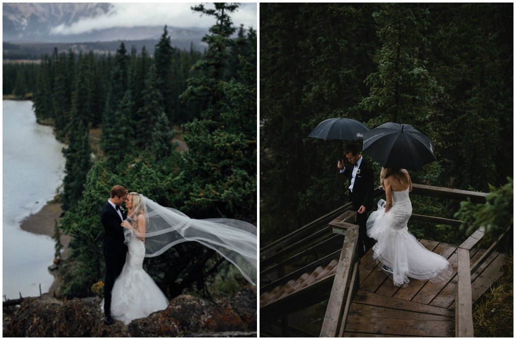 Romantic Rainy Mountain Wedding