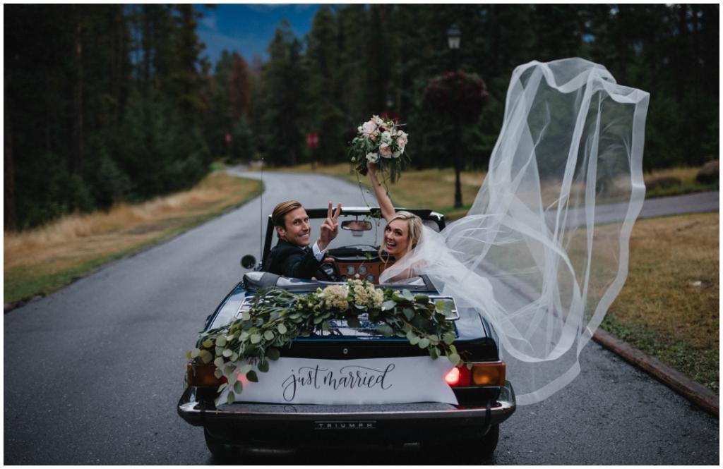 Classic Wedding Car Getaway