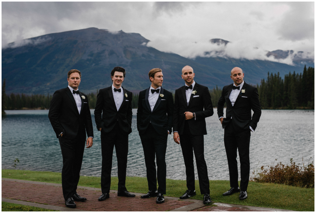 Black Tuxedos groom and groomsmen