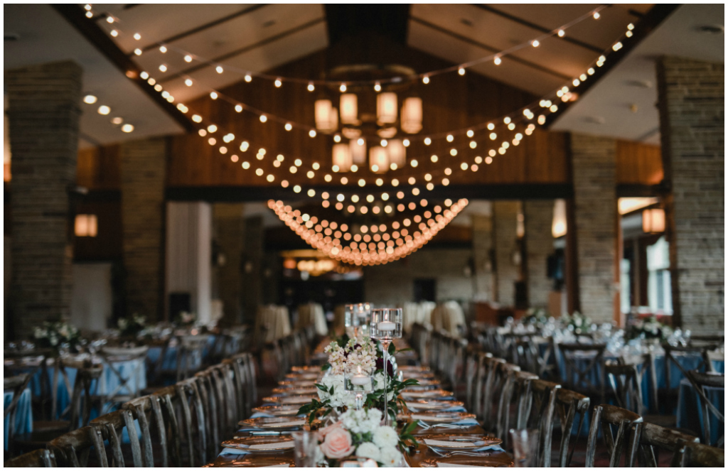 Elegant Mountain Wedding Cafe lights