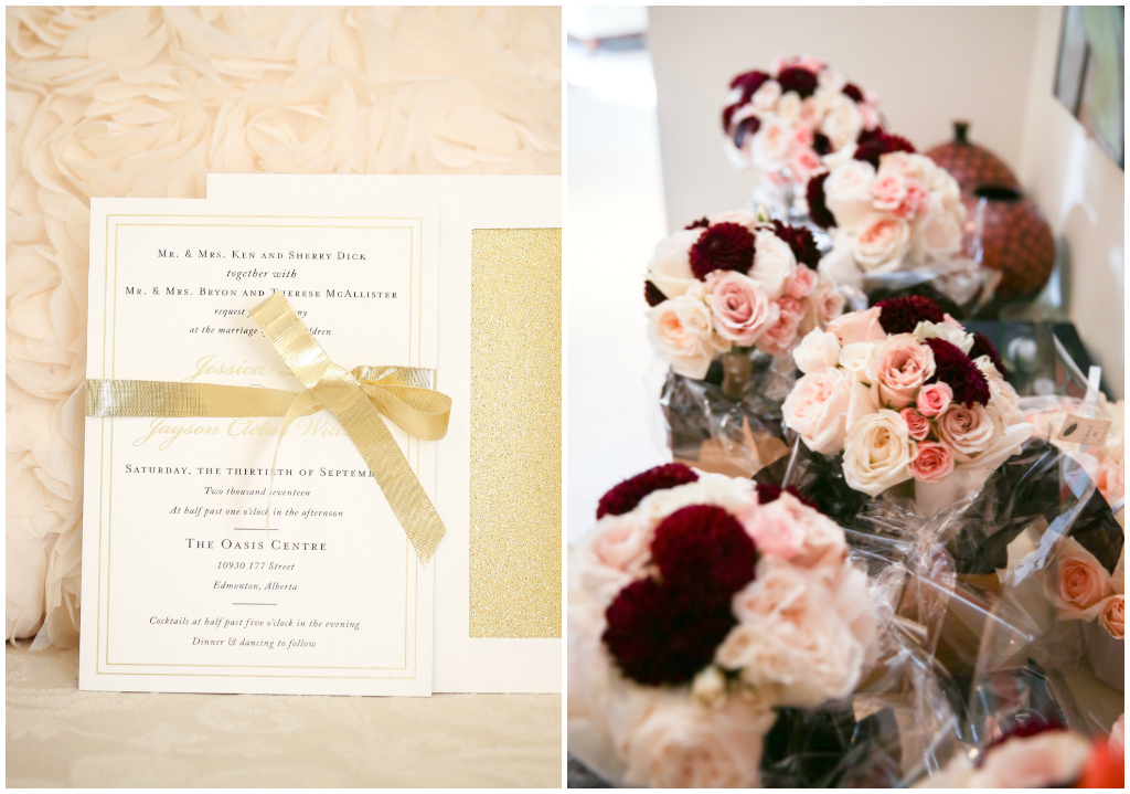 Edmonton Wedding Florist, Burgundy and Pink Bouquets