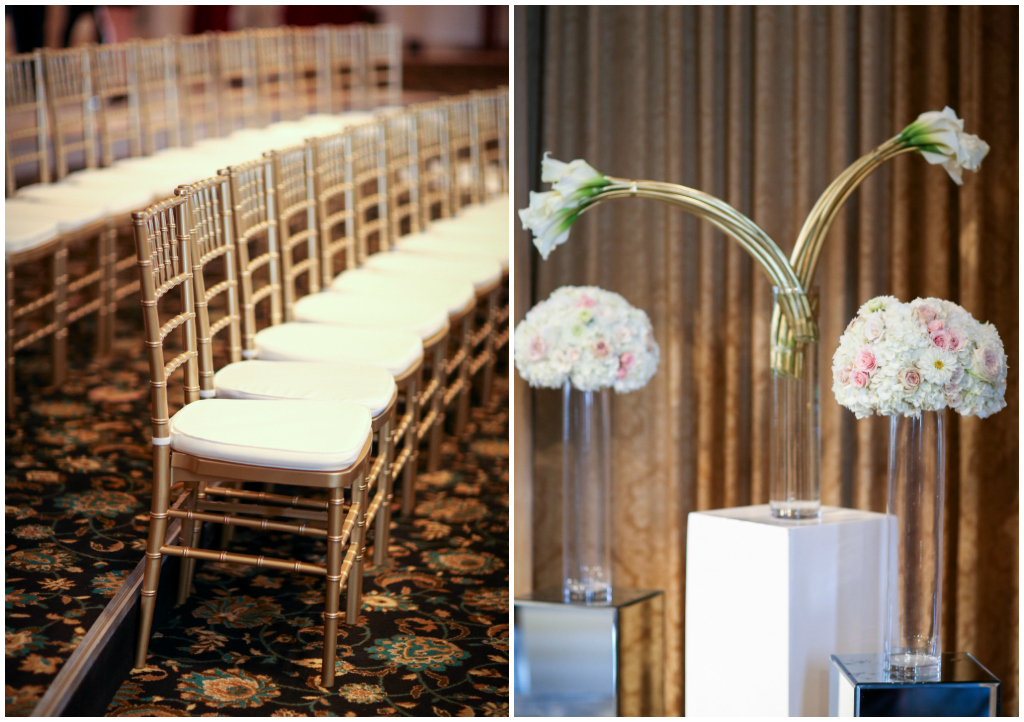 Mirrored and White Pillar Altar Florals