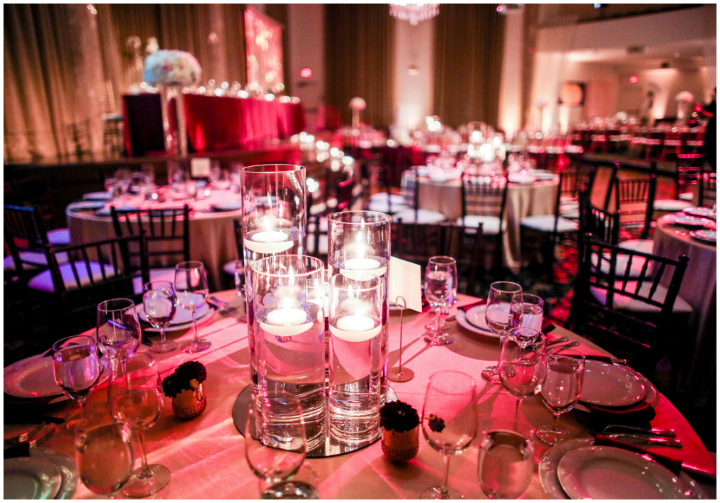 Burgundy Wedding Lighting