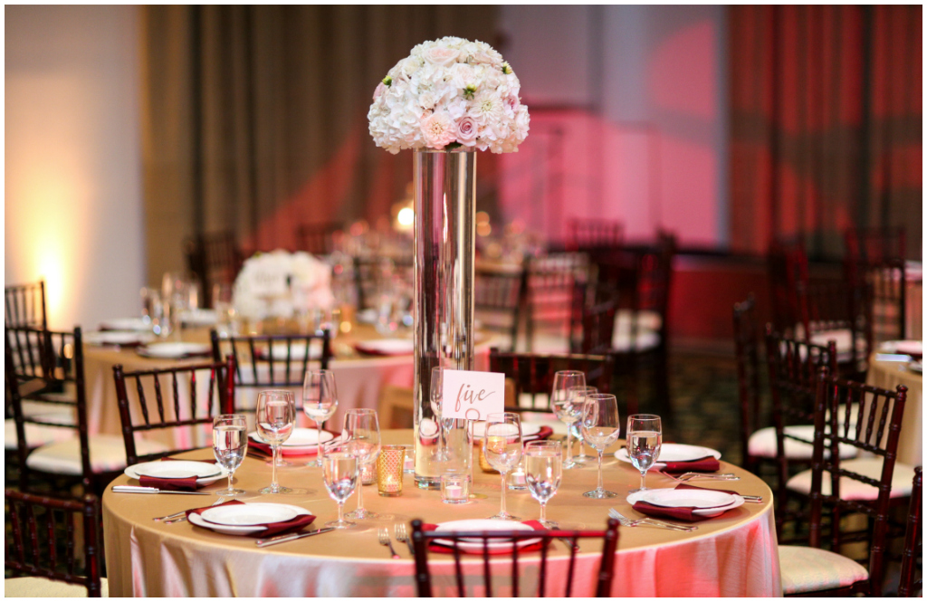 Elegant Gold and Burgundy Ballroom Wedding