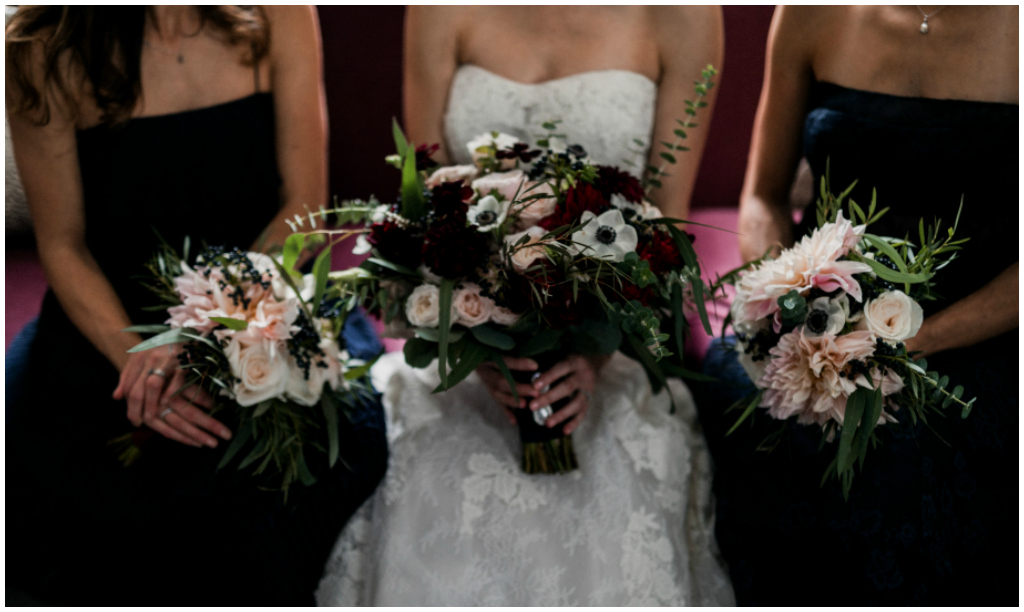 Burgundy and Navy Wedding Bouquets