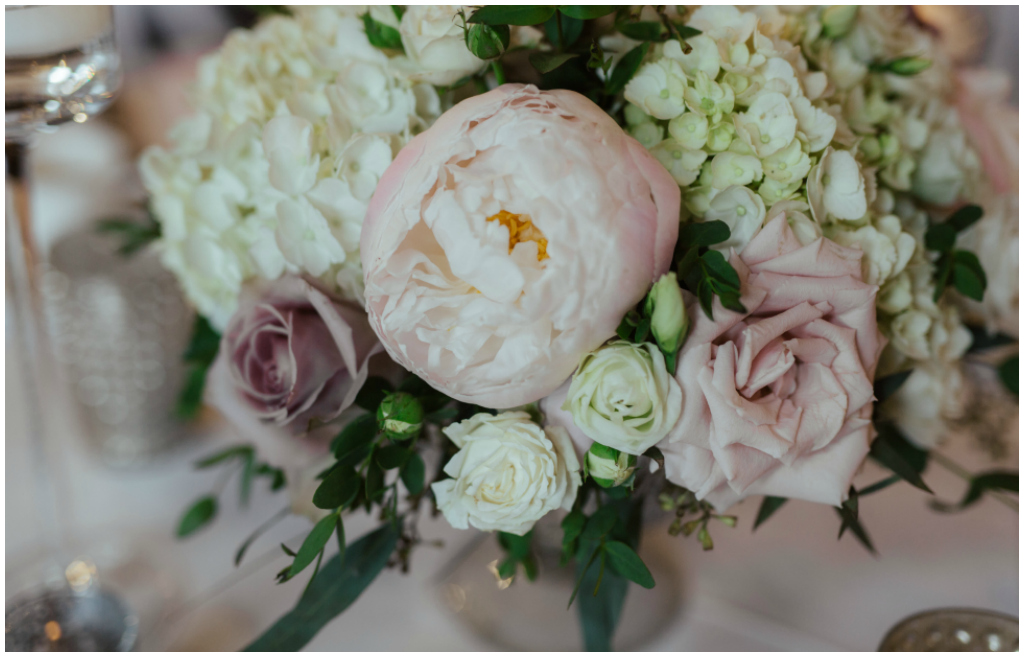 White hydrangea and blush peonies florals