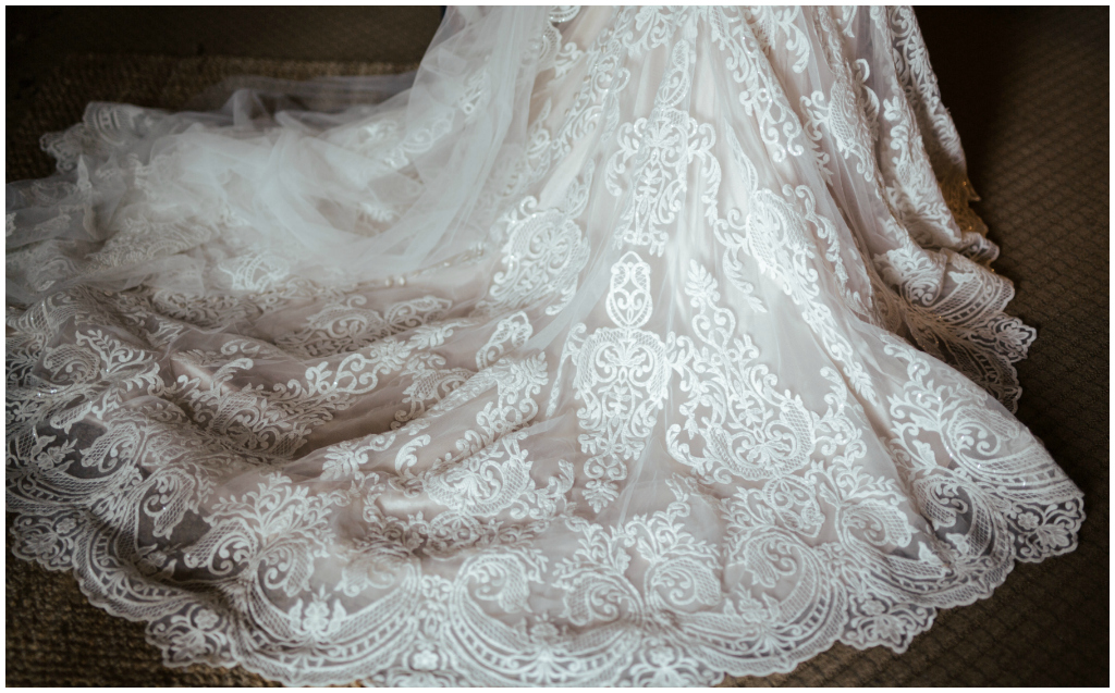 Lace and Applique Wedding Gown