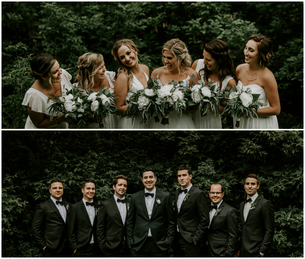 Classic White and Green Bridal Party Bouquets