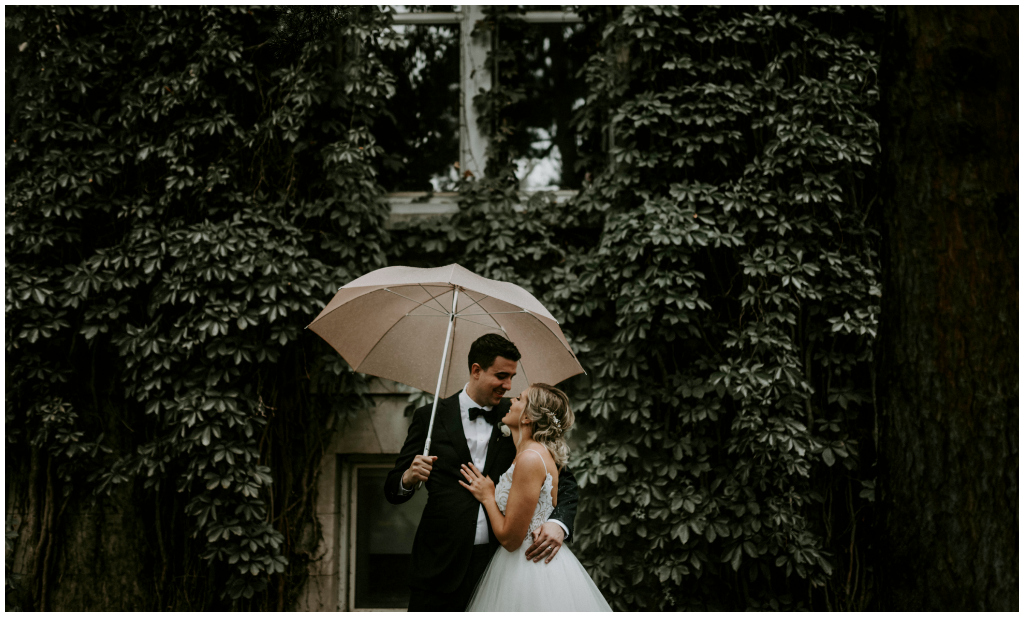 Cute Outdoor Rainy Wedding Photos Edmonton