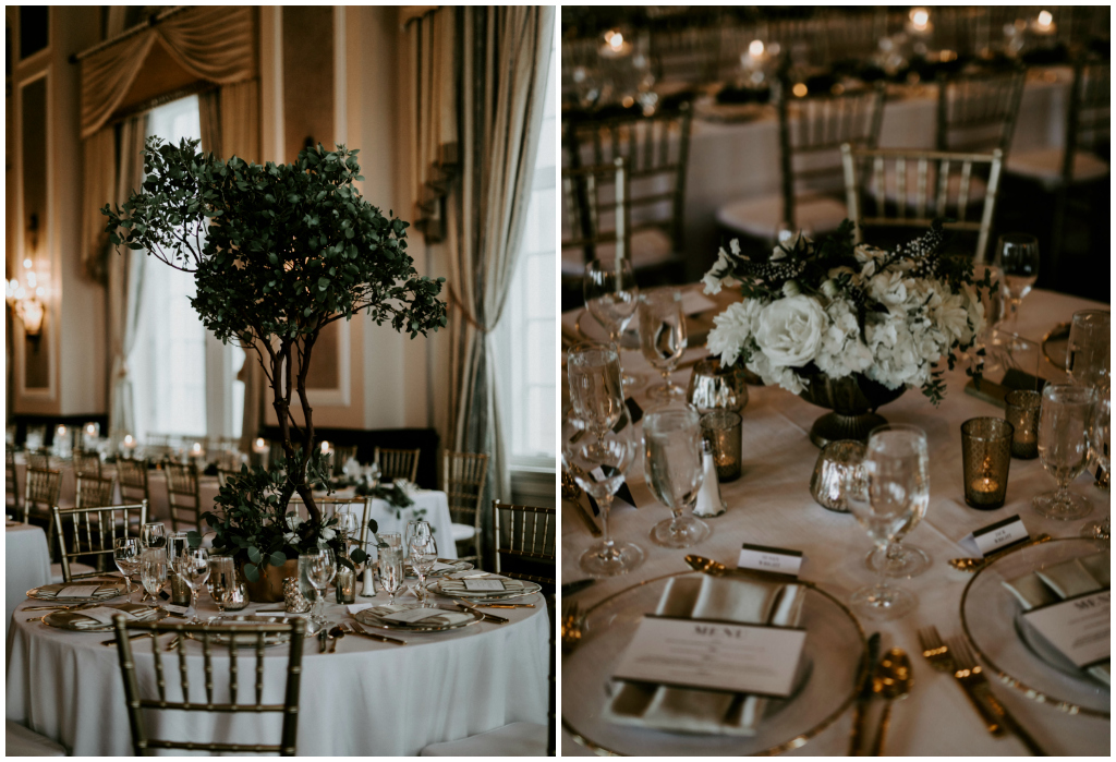 Greenery Tree Centerpieces, White and Gold Floral Centrepieces