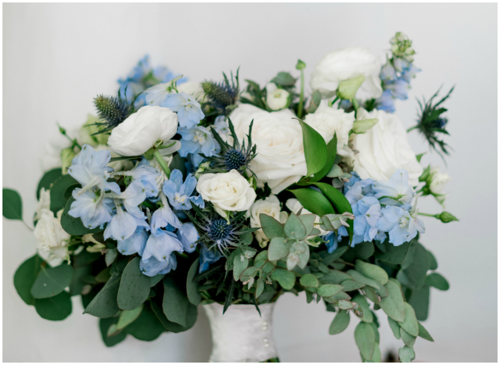 Calgary Wedding Florist, Classic white and blue bridal bouquet