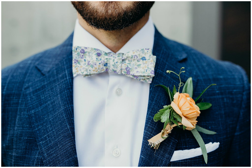 Orange Boutonniere, Floral Grooms Tie, Kelowna Summer Wedding