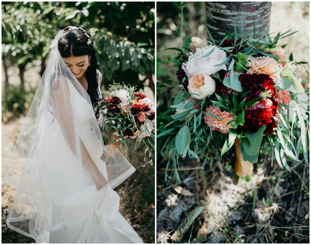 Kelowna Wedding Florist, Pink Peonies and Burgundy Bouquet