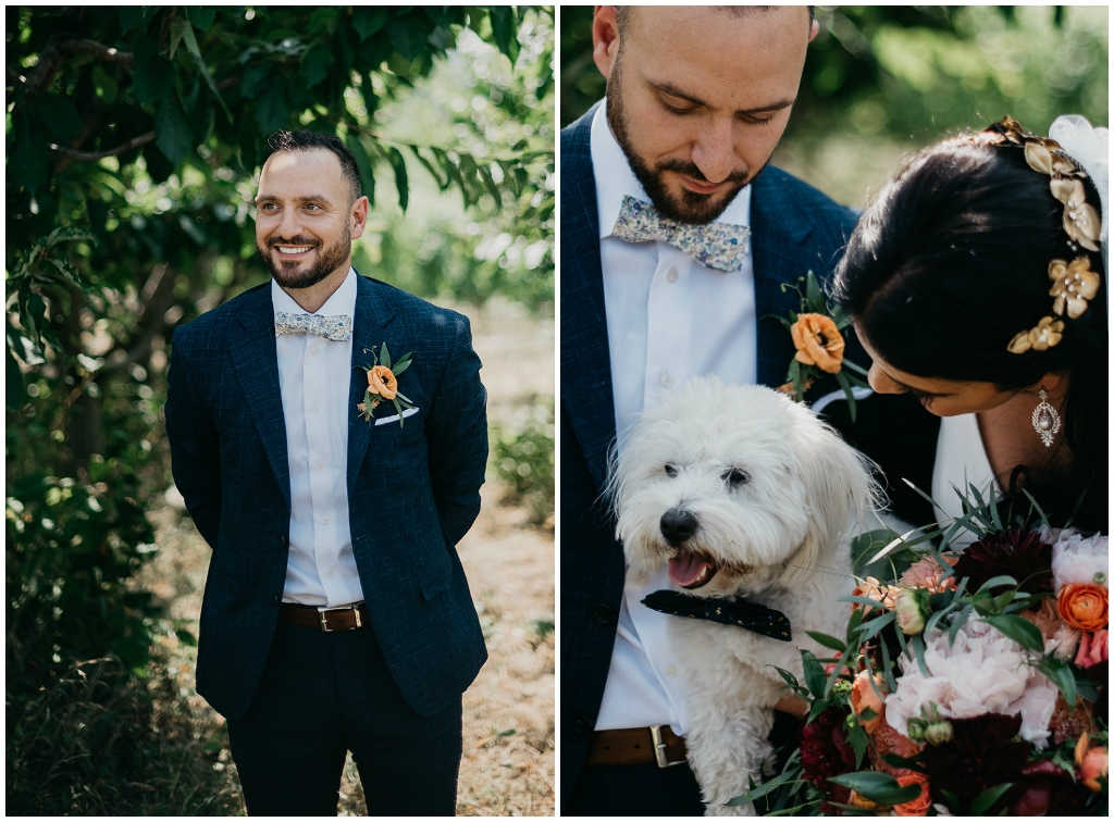 Bride and Groom with Puppy Photo