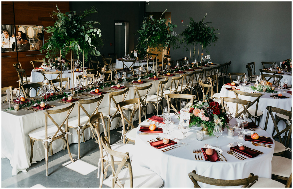 Rustic Vineyard Chairs with White linens and Burgundy napkins